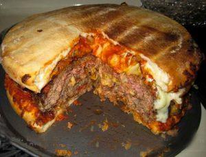 Double pizza bacon cheeseburger